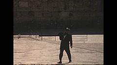 Vintage 16mm film, 1970, Israel, wailing wall Stock Footage