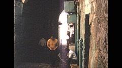 Vintage 16mm film, 1970, Israel, people, the old city, b-roll - stock footage
