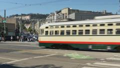 San Francisco Street Car on Market Street in Mission District Stock Footage