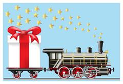 steam locomotive with gifts - stock illustration