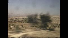 Vintage 16mm film, 1970, Israel, drive plate arid rural traffic Stock Footage