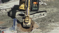 Excavator Trenching Soil Stock Footage