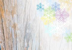 Wooden plank background with colorful snowflake Stock Illustration