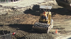 Soil Roller Leveling Ground Stock Footage
