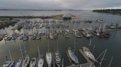 Aerial fishing boats harbor yard Stock Footage