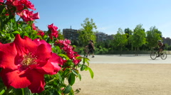 Flowers and urban sport people Stock Footage