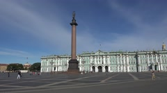Palace Square (in 4k) with the Hermitage Museum, St Petersburg, Russia. - stock footage