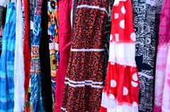 Indian women dress for sale in the market - stock photo