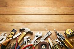Tools on wood planks Stock Photos