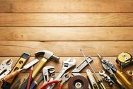 Stock Photo of tools on wood planks