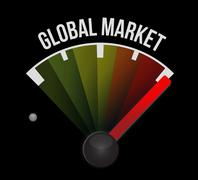 Stock Illustration of global market meter sign concept