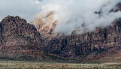 Red Rock Nevada Desert Storm Clouds Telephoto Time Lapse Arkistovideo