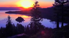 A beautiful sunrise establishing shot of Emerald Bay at Lake Tahoe. Stock Footage