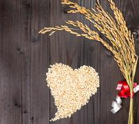 heart and spike rice - stock photo
