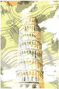 Famous pisan tower rendered with engraving effects - stock illustration