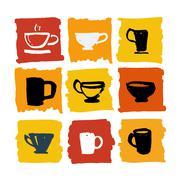 Tea shop logo set illustration - stock illustration