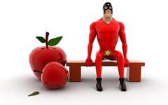 superhero - apples concept - stock illustration