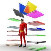 superhero with arc of books concept - stock illustration