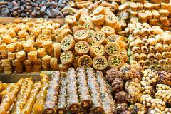 Turkish Sweets in Spice Bazaar, Istanbul Stock Photos