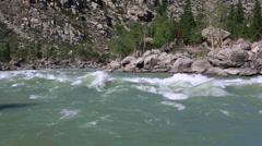 Beautiful Ilgumensky threshold on Katun River Stock Footage
