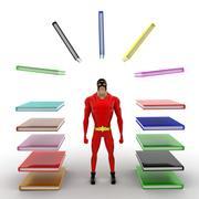 Superhero with arc of books concept Stock Illustration