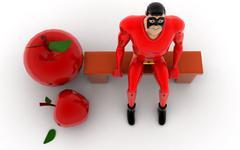 Superhero - apples concept Stock Illustration