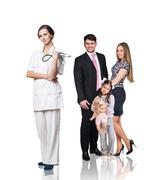 Family at the doctor appointment Stock Photos