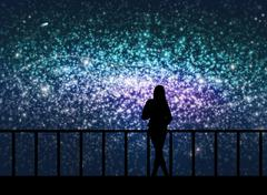 Stock Illustration of Silhouette of young woman in the cosmos