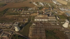 4K aerial shot – flight over power plant with smoking pipes – industrial view Stock Footage