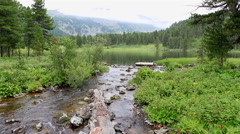 Flow between the sixth and seventh Karakol lakes Stock Footage