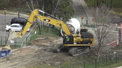 Excavator Moving Heavy Objects Stock Footage