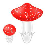 Poisonous Mushrooms Set - stock illustration