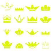 Set of Gold Crowns Silhouettes - stock illustration
