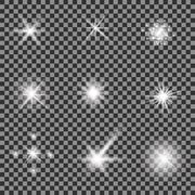 Set of Different White Lights - stock illustration