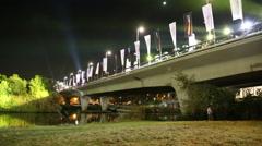 Tel-Aviv OCTOBER 20 2015 Night run bridge Stock Footage