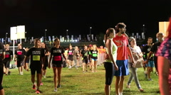 Tel-Aviv OCTOBER 20 2015 Night run runners gather - stock footage