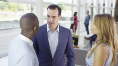 4K Portrait of confident smiling business team in modern office building Stock Footage