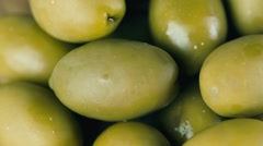 Green olives, pickled, rotate front of the camera Stock Footage