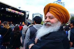 Mature Indian man celebrating Diwali festival in Auckland,New Zealand. Stock Photos