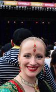 New Zealander woman celebrating Diwali festival in Auckland,New Zealand Stock Photos