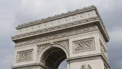 Arc de Triomphe landmark of  Paris France   4K 2160p 30fps UltraHD tilt foota Stock Footage