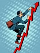 Businessman climber is climbing up according to the schedule of - stock illustration