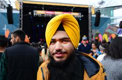 Stock Photo of Young Indian man celebrating Diwali festival in Auckland,New Zealand.