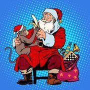 Santa claus monkey symbol new year 2016 Stock Illustration