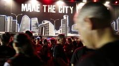 Tel-Aviv OCTOBER 20 2015 Runners gather for city night run - stock footage
