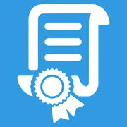 Certified Scroll Document Icon - stock illustration