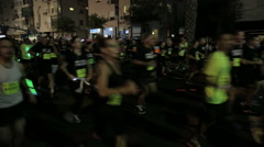 Stock Video Footage of Tel-Aviv OCTOBER 20 2015 Night Run public run