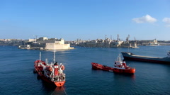 View on Malta bay from Valletta Stock Footage