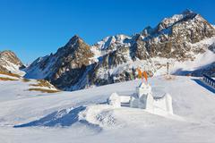 Snow fort in mountains ski resort - Innsbruck Austria Stock Photos