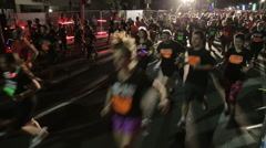 Tel-Aviv OCTOBER 20 2015 Top view front and rear of Night Run Tel-Aviv - stock footage